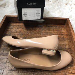 Talbots Palomino Neutral Flats Patented Leather